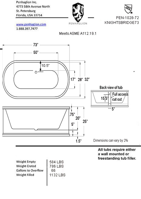 free standing tub dimensions. Printer friendly spec  sheet The Knightsbridge73 73 Cast Iron Double Ended Metal Exterior