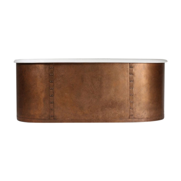 The Ulverscroft66 66 Cast Iron Double Ended Tub With Aged Copper Exterior And Riveted Straps Plus Drain